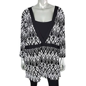 Maggie Barnes Black Tunic Top Plus Size 3X